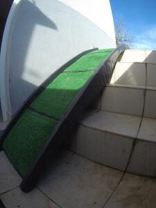 Hunderampe Nobby auch Zuhause über Treppenstufen im Einsatz